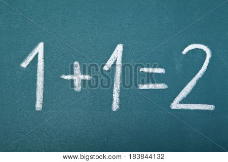 Basic arithmetic equation written on a chalkboard - 1 + 1 = 2