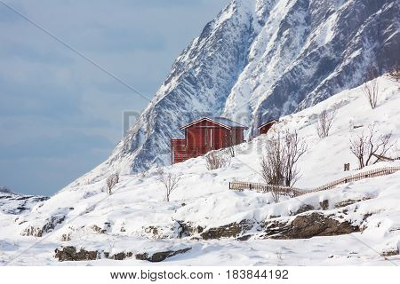 The red cabin in the mountains of the Lofoten Islands in winter