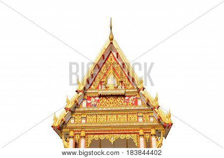 Beautiful Nagas or Serpents (Giant snake) and thai style angel statue on the top of roof in