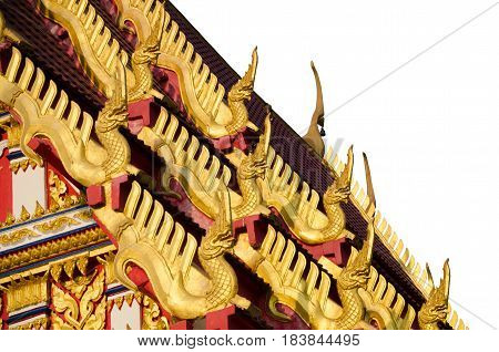 Beautiful Nagas or Serpents (Giant snake) statue on the top of roof in