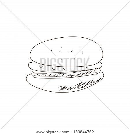 Hand drawn burger. VECTOR outline drawing. Fast food products.