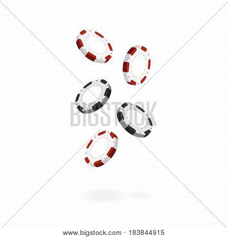 Casino chips isolated on white background. Falling realistic 3d gambling chips. Vector illustration for website brochure logo ui in applications