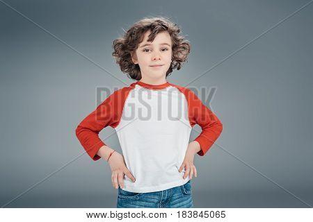 Curly Little Boy At Studio