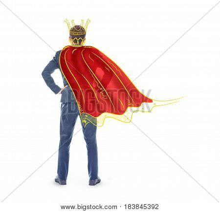 The concept of narcissism. A man in an imaginary crown and cloak isolated on a white background. The concept of egocentrism.