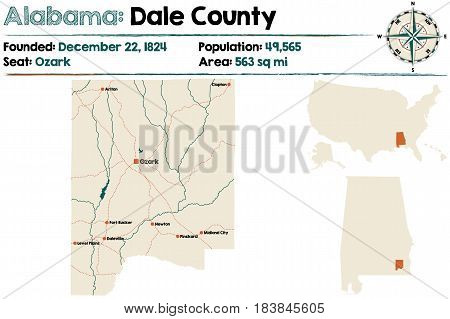 Large and detailed map of Dale County in Alabama.