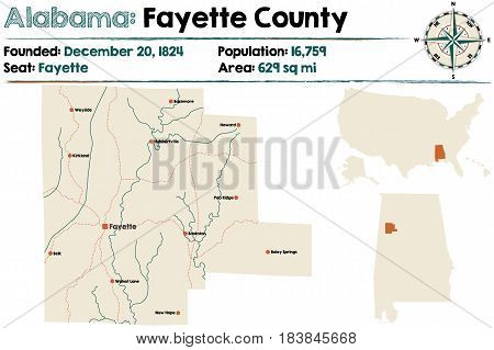 Large and detailed map of Fayette County in Alabama.