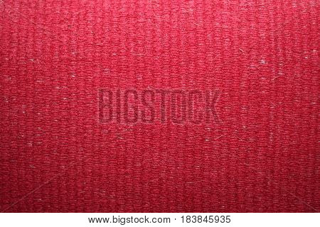 Woolen red plaid, closeup of weaving thread