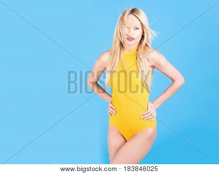 Pretty Fit Girl In Yellow Bodysuit