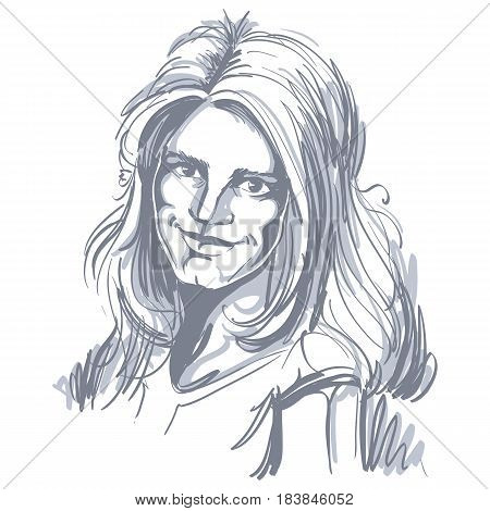 Vector drawing of bemused woman with stylish haircut. Black and white portrait of attractive tender lady art image.