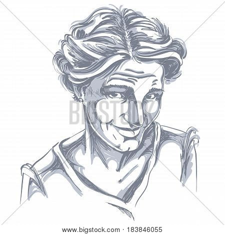 Hand-drawn vector illustration of naive blameworthy woman. Monochrome image expressions on face of young lady. I am sorry theme.
