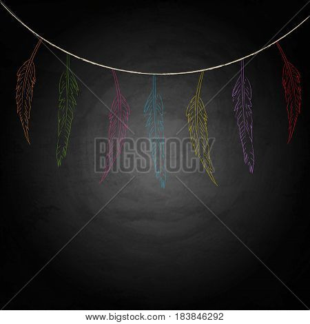 Feather On Chalkboard Blackboard Background