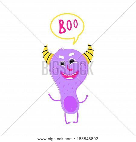 Cute monster is smiling, purple, isolated with orange horns, saying boo