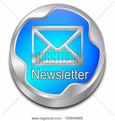 glossy blue Newsletter Button - 3D illustration