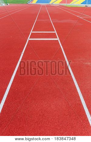 Close up view on empty outdoor running track