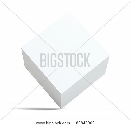 A white empty cube stands on the corner. Isolated on white background. 3D illustration