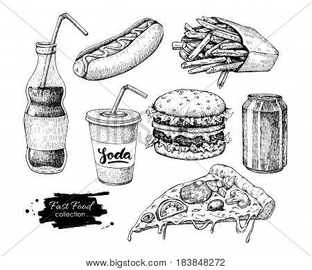 Fast food vector hand drawn set. Engraved style junk food illustration.  Burger, hot dog, pizza, french fries and soda drawing. Great for label, menu, poster, banner, voucher, coupon, business promote