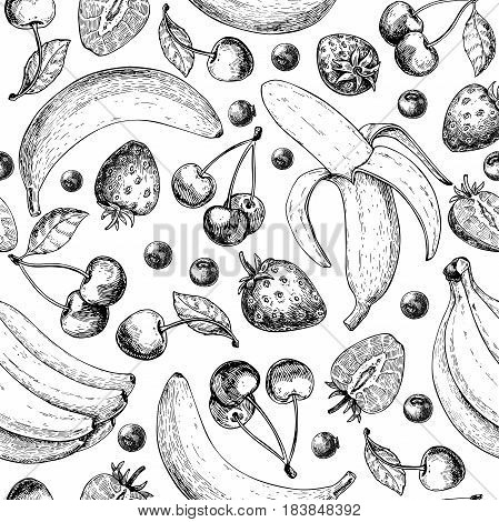 Summer fruit seamless pattern. Hand drawn vintage vector background. Fruit and berry set of banana, cherry, srawberry, blueberry. Detailed organic food drawing. Great for menu, print, wallpaper fabric