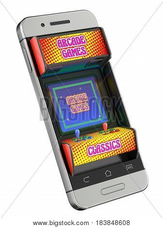 Concept with retro arcade game machine in the mobile - 3d illustration