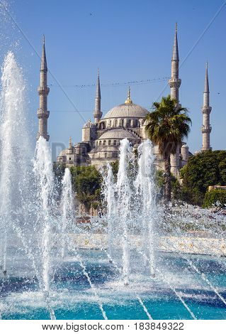 The view of the Blue Mosque (Sultanahmet Camii) on a sunny day in Istanbul Turkey