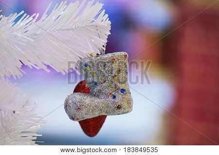 Christmas decoration and christmas ornaments on blurry background