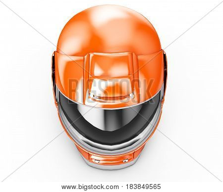 High resolution 3d render Orange moto helmet.