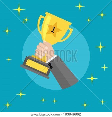 Business man holding up winning gold trophy - Vector illustration