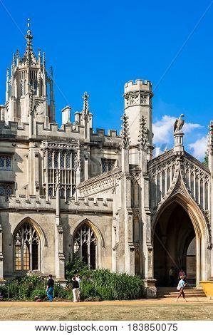 Cambridge Cambridgeshire United Kingdom - June 24 2006: The entrance to St John's College in Cambridge University. The New Court.