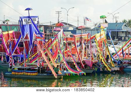 Semporna,Sabah-Apr 22,2017:View of traditional Sea Bajau's boat known as Lepa-Lepa decorated with colorfull Sambulayang during Regata Lepa-Lepa in Semporna,Sabah,Borneo.Lepa means Boat in Sea Bajau.