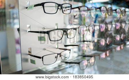 Various of eye glasses in the shop. Selective focus