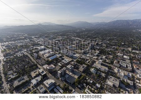 Aerial view of downtown Pasadena and the San Gabriel Mountains in Southern California.