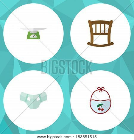 Flat Baby Set Of Children Scales, Infant Cot, Pinafore And Other Vector Objects. Also Includes Diaper, Bib, Infant Elements.
