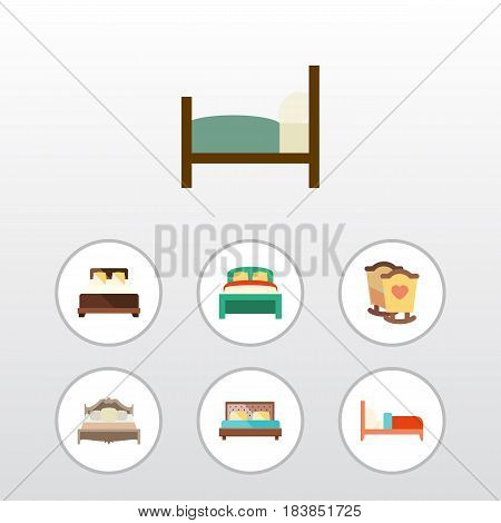Flat Bedroom Set Of Mattress, Crib, Bed And Other Vector Objects. Also Includes Bed, Mattress, Furniture Elements.