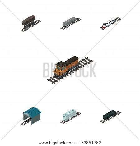 Isometric Railway Set Of Carbon Railway Container, Depot, Delivery Tank And Other Vector Objects. Also Includes Container, Tank, Wagon Elements.