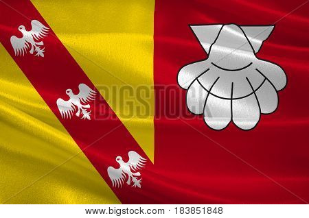 Flag of Chateau-Salins is a commune in the Moselle department in Grand Est in north-eastern France. 3D illustration