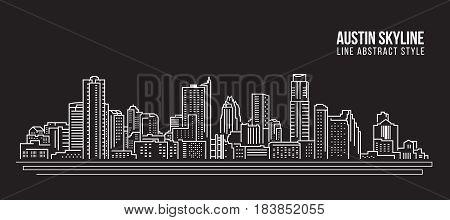 Cityscape Building Line art Vector Illustration design - Austin skyline city