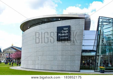 Amsterdam, Netherlands - Circa April 2017: Van Gogh Museum in Amsterdam, Netherlands. The largest collection of Van Gogh's paintings and drawings in the world.