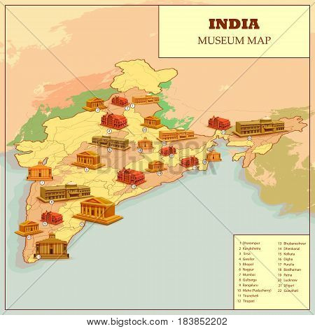 easy to edit vector illustration of Famous museum Map Of India
