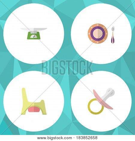 Flat Kid Set Of Nipple, Toilet, Baby Plate And Other Vector Objects. Also Includes Baby, Soothers, Child Elements.