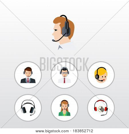 Flat Telemarketing Set Of Help, Earphone, Hotline And Other Vector Objects. Also Includes Headphone, Online, Service Elements.