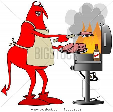 Illustration of a red devil wearing an apron and putting hamburger patties on a BBQ grill. poster