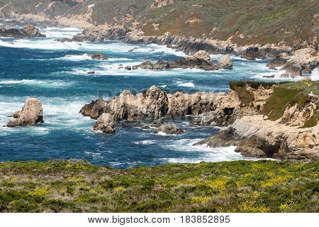 Garrapata State Park Coastal Views at Springtime. Monterey Coast, California, USA