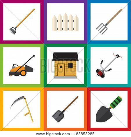 Flat Farm Set Of Lawn Mower, Hay Fork, Trowel And Other Vector Objects. Also Includes Mower, Tool, Hoe Elements.