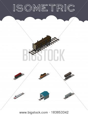 Isometric Railway Set Of Train, Delivery Tank, Lumber Shipping And Other Vector Objects. Also Includes Railway, Underground, Tank Elements.