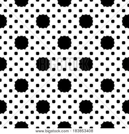 Vector seamless pattern, simple geometric texture, black figures on white backdrop, polka dot illustration with rounded octagons. Abstract repeat background. Design for decor, print, decoration, web