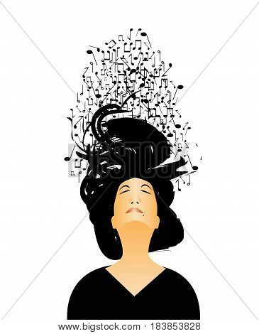 woman isolated with musical notes through his hair