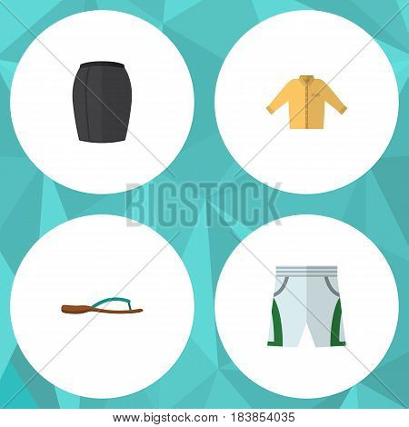 Flat Clothes Set Of Banyan, Stylish Apparel, Trunks Cloth And Other Vector Objects. Also Includes Sandal, Shirt, Trunks Elements.