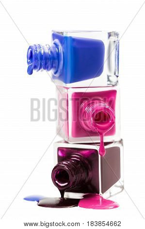 Stack of nail polish isolated on the white background