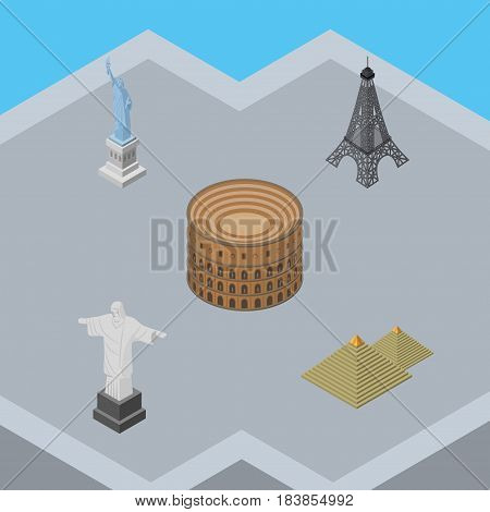 Isometric Architecture Set Of Rio, Egypt, Coliseum And Other Vector Objects. Also Includes Monument, Paris, Egypt Elements.