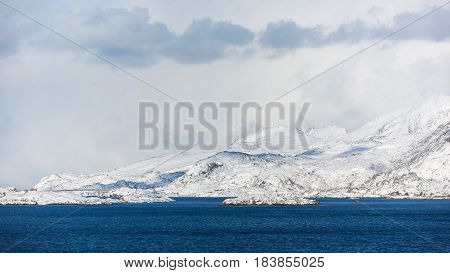 The bright snowy mountains of the Lofoten Islands