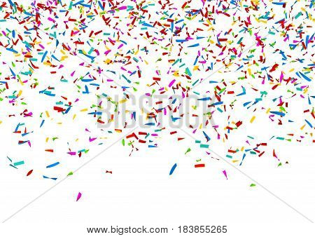 Colorful Confetti Falling in Front of a White Background